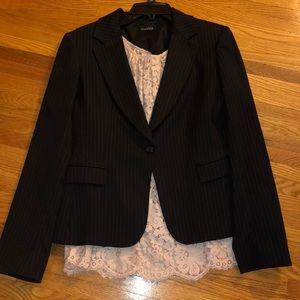 TAHARI black with white stripe blazer size 12